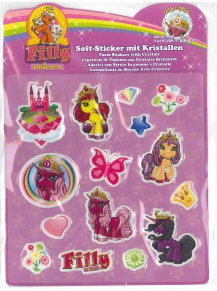Filly Unicorn Soft-Sticker mit Kristallen, rotes Schloß