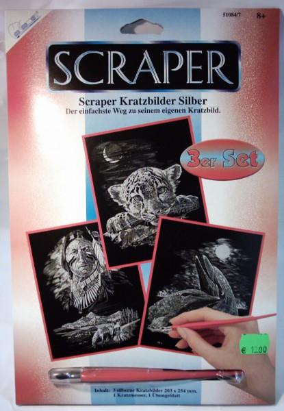 3er Set Kratzbilder, silber