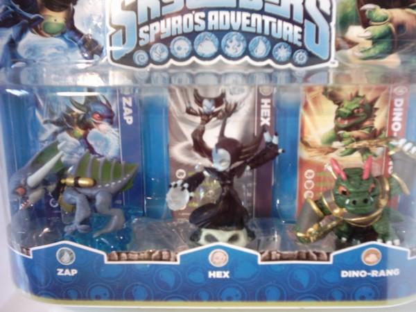 Triple Pack E Skylanders Zap, Hex, Dino-Rang