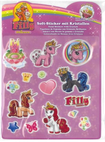 Filly Unicorn Soft-Sticker mit Kristallen, rosa Schloß
