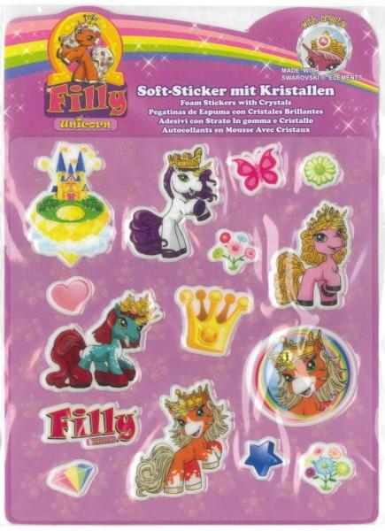 Filly Unicorn Soft-Sticker mit Kristallen, gelbes Schloß