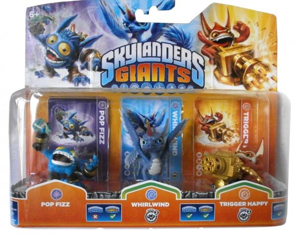 Triple Pack A Skylanders Giants Pop Fizz, Wirlwind 2 + Trigger H