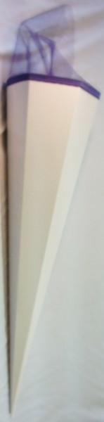 Zuckertüte/ Schultüte groß, 85cm, weiß (neutral), blauer Tüll