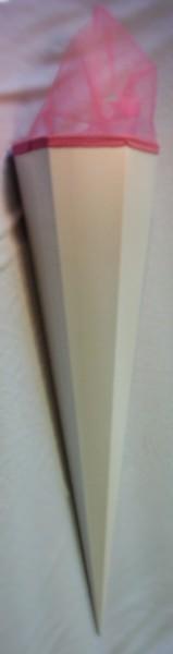 Zuckertüte/ Schultüte groß, 85cm, weiß (neutral), rosa Tüll